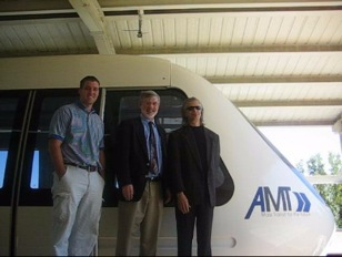 AMT's Brandon Cromer with ODU representatives Jerry Creedon and Dr. Thomas Alberts at AMT's Georgia test track in 2007.