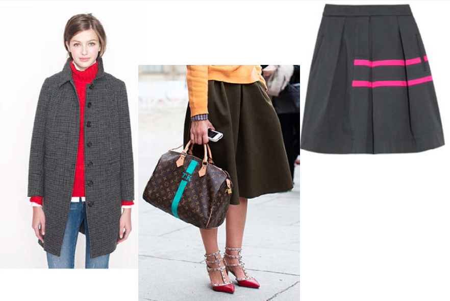 Old color inspiration images from my desktop.  Red sweater girl - Jcrew  LV monogram from Sartorialist.com  The skirt, I can't remember.....