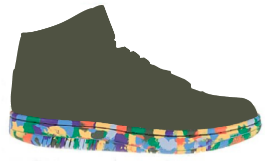 doing graphics as well as multiple colors on the midsoles and creating a rainbow effect on outsoles