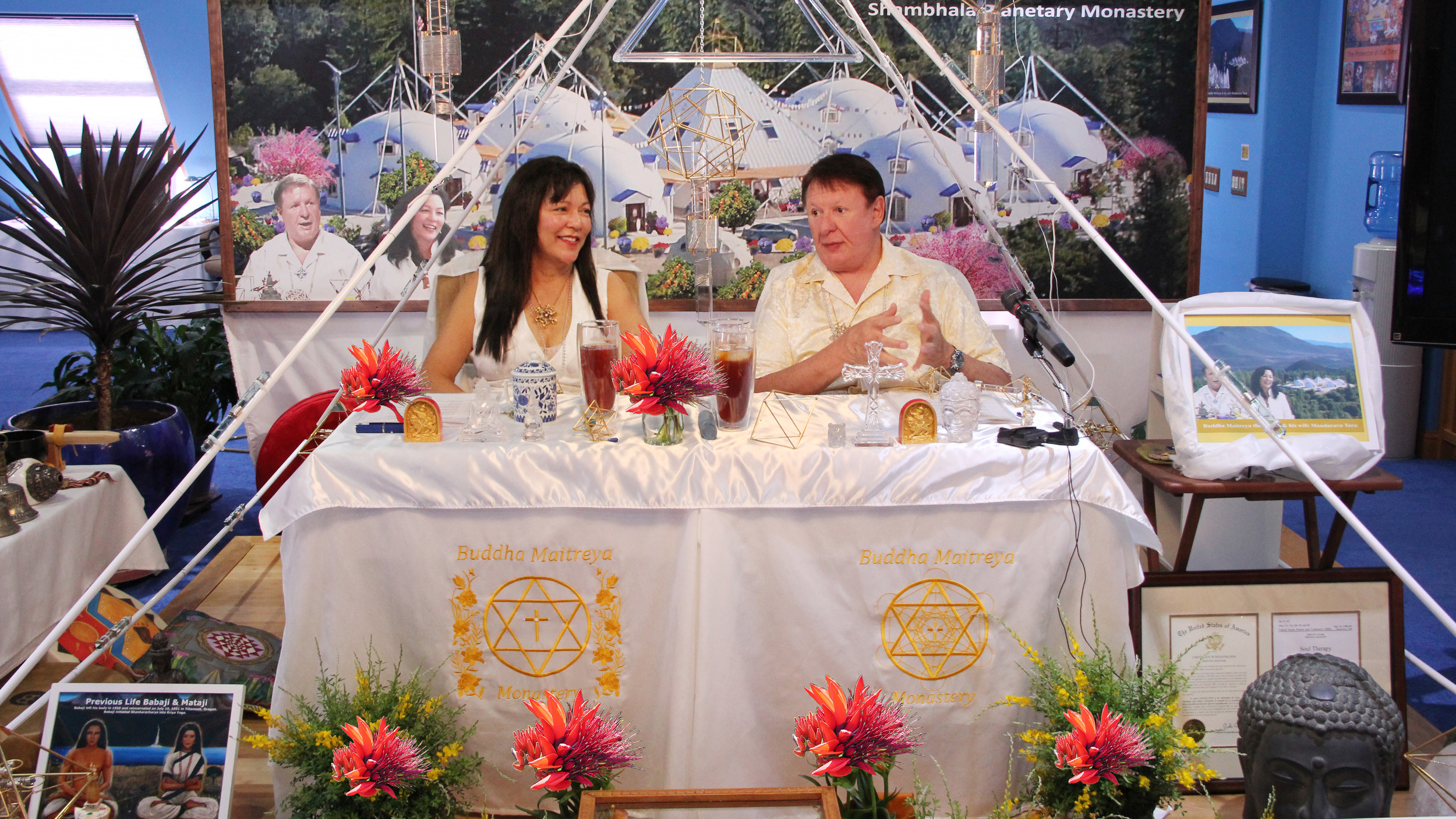 Buddha Maitreya the Christ and his wife, Mandarava Tara offer OM Pyramid Meditations every Saturday and Sunday live online or in person from within their Central Teaching Pyramid at Buddha Maitreya the Christ's Shambhala Monastery.  Learn more
