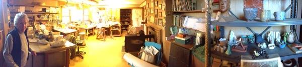 Rosemary in her pottery studio.