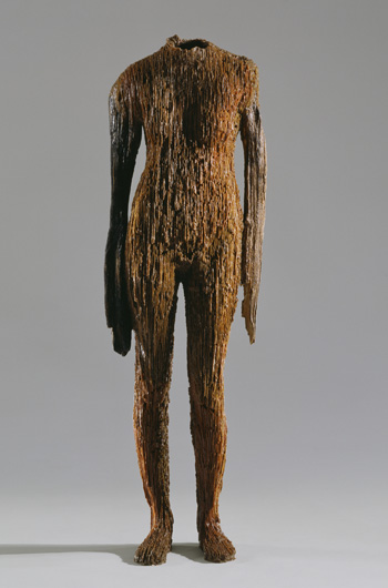 Figure with Long Arms , 2008. Casting wax: 59 x 18 x 10 in. Work in progress.