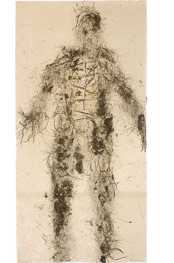 Adam , 2007.Relief print from organic material. 48 x 96 in.