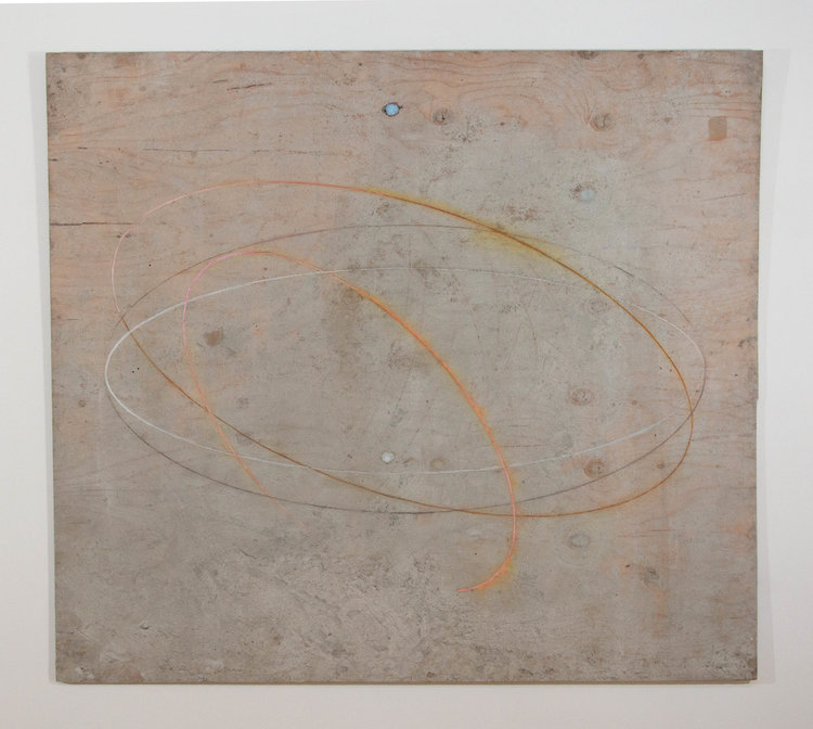 Two Knots , 2016. Plywood, cement, oil paint: 48 x 54  in.