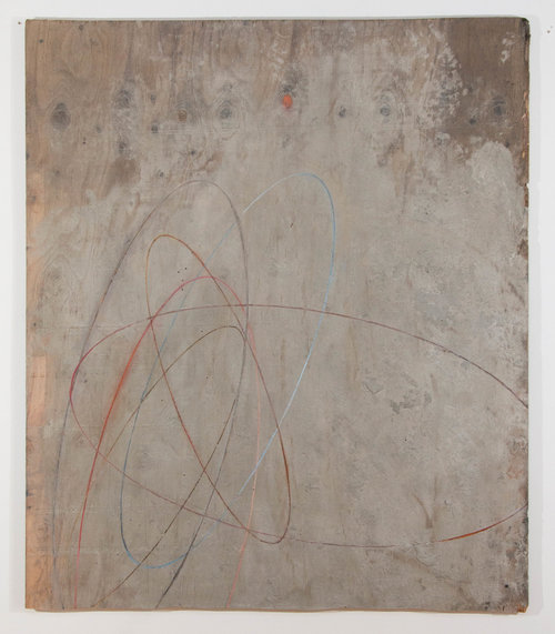 Dark Red ,  2017 . Plywood, cement, oil paint: 56 x 48in.