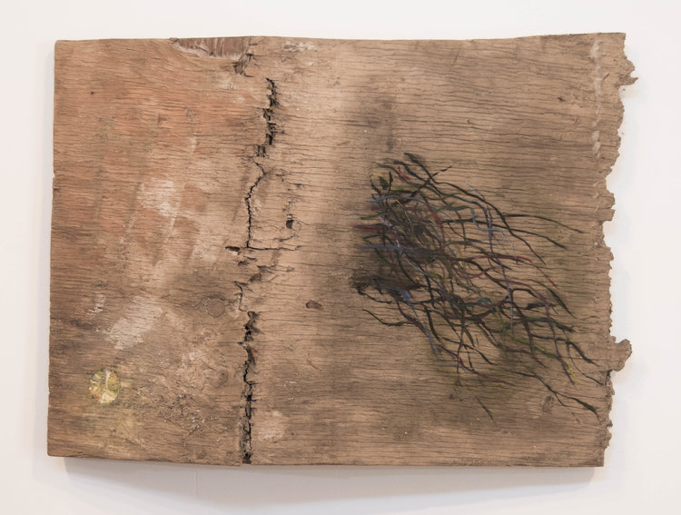 Cracked , 2014.Plywood, oil paint:16 x 32 in.