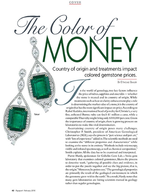 AGL and Christopher Smith were represented in the February 2016 issue of Rapaport with an article about the impact that country of origin and treatment has on colored gemstone prices. Please  click here  to download the article.