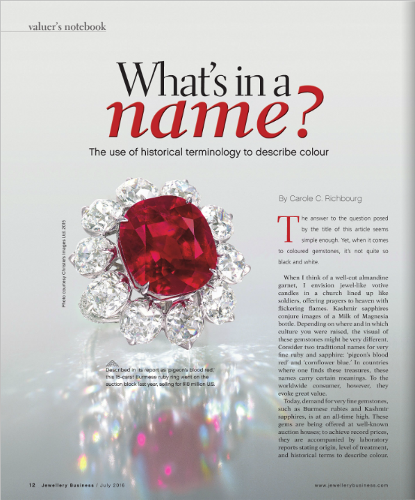 AGL was represented in an article about the naming of colors in gemstones.  Please click here to download the article.