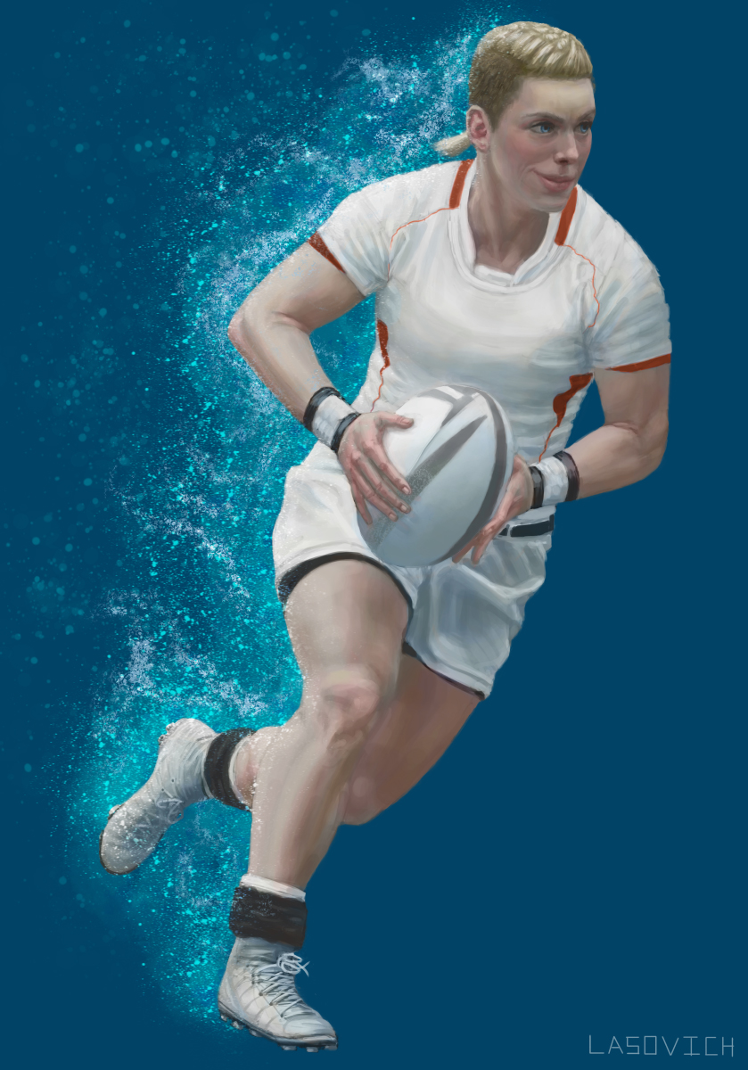 Female Promotional Figure for the World Rugby Organzation
