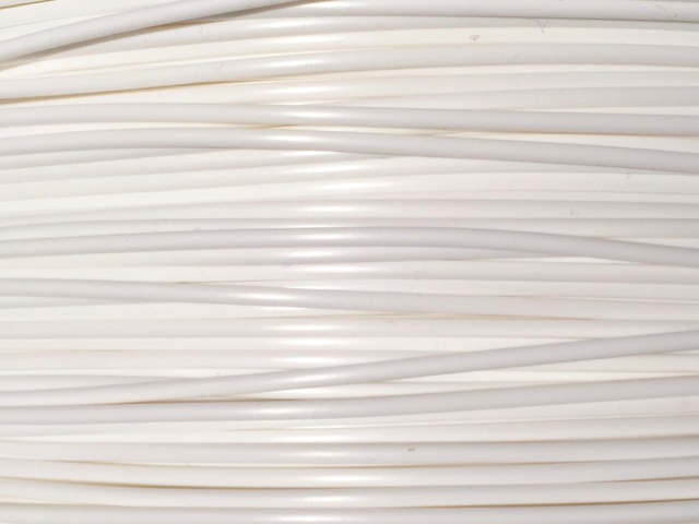 White 3D printer filament detail