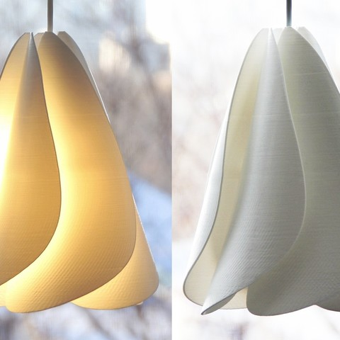 Anna Flower 3D printed lampshade, sideview, lit and unlit