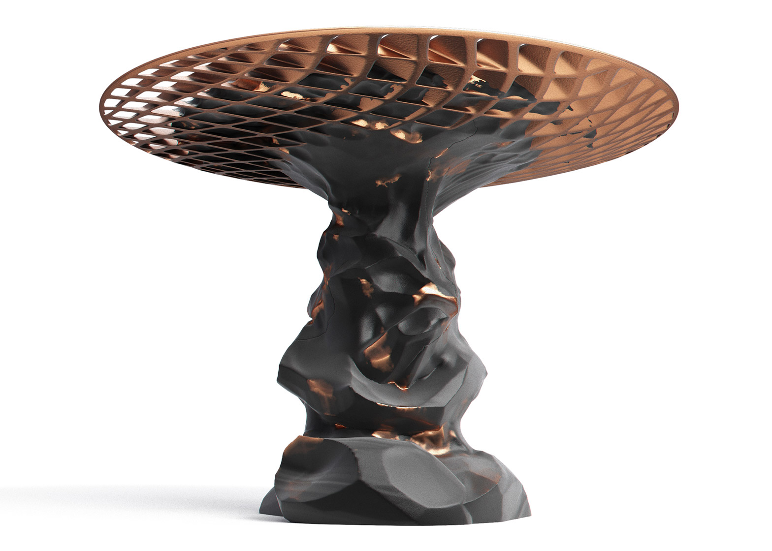 Janne Kyttanen's explosively welded Metsidian side table