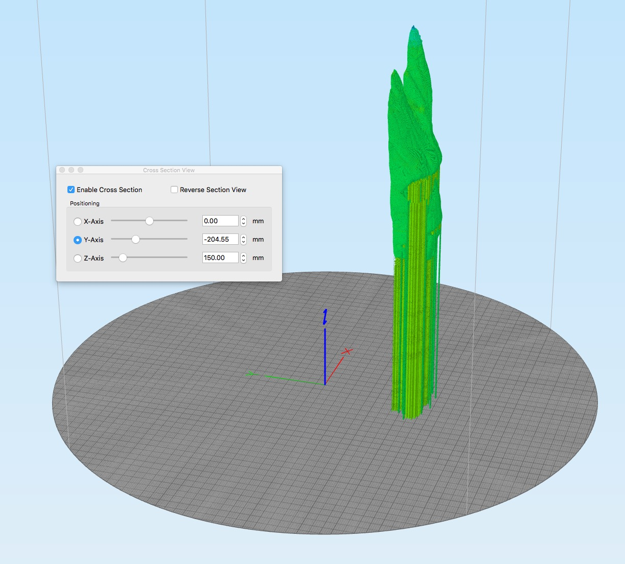 Simplify3D's new cross section tool