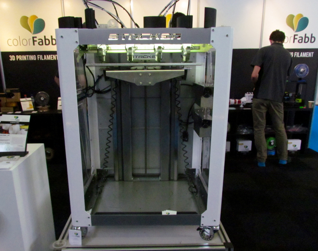 The STACKER S4 multi-head 3D printer, now sold by colorFabb