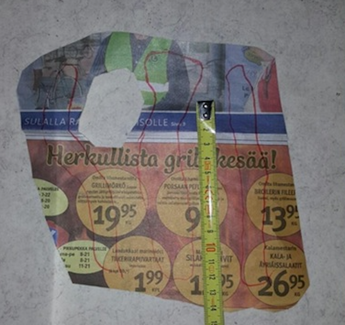Measuring for the homemade 3D printed wrist brace - with a newspaper!