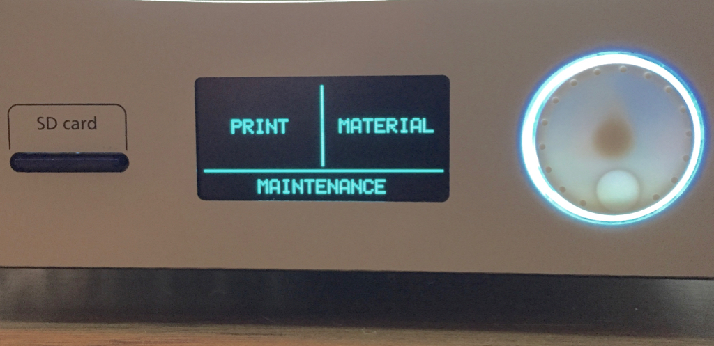 The control panel on any recent Ultimaker 3D printer