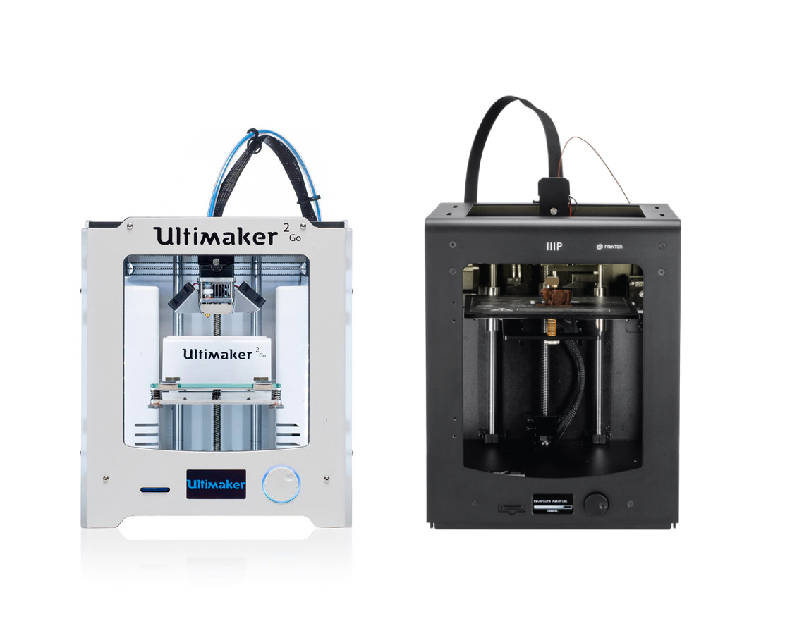 Comparing an Ultimaker 2+ (left) and a Monoprice Maker Ultimate (right)