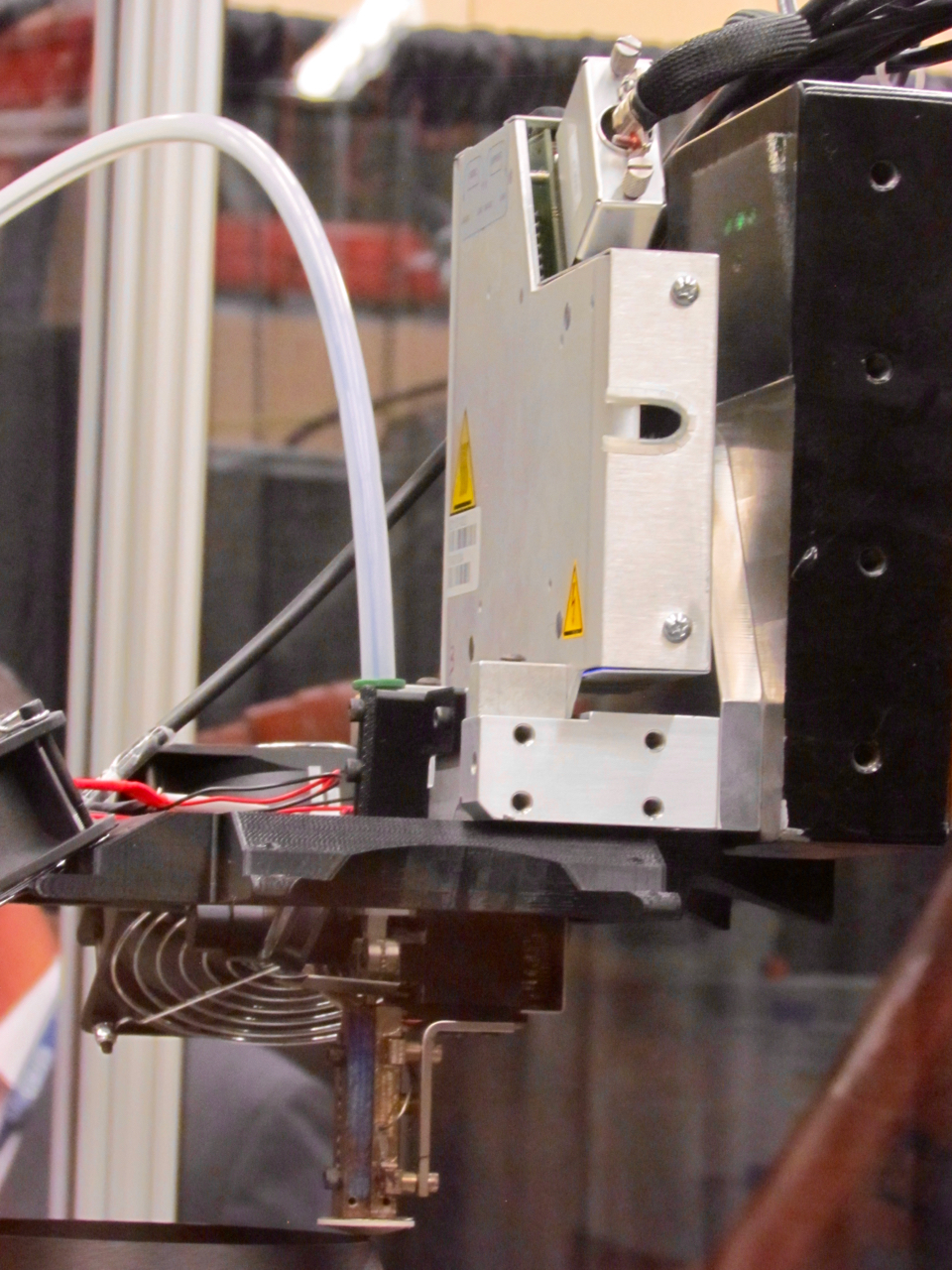 The extruder on the Stratasys Robotic Composite 3D Demonstrator