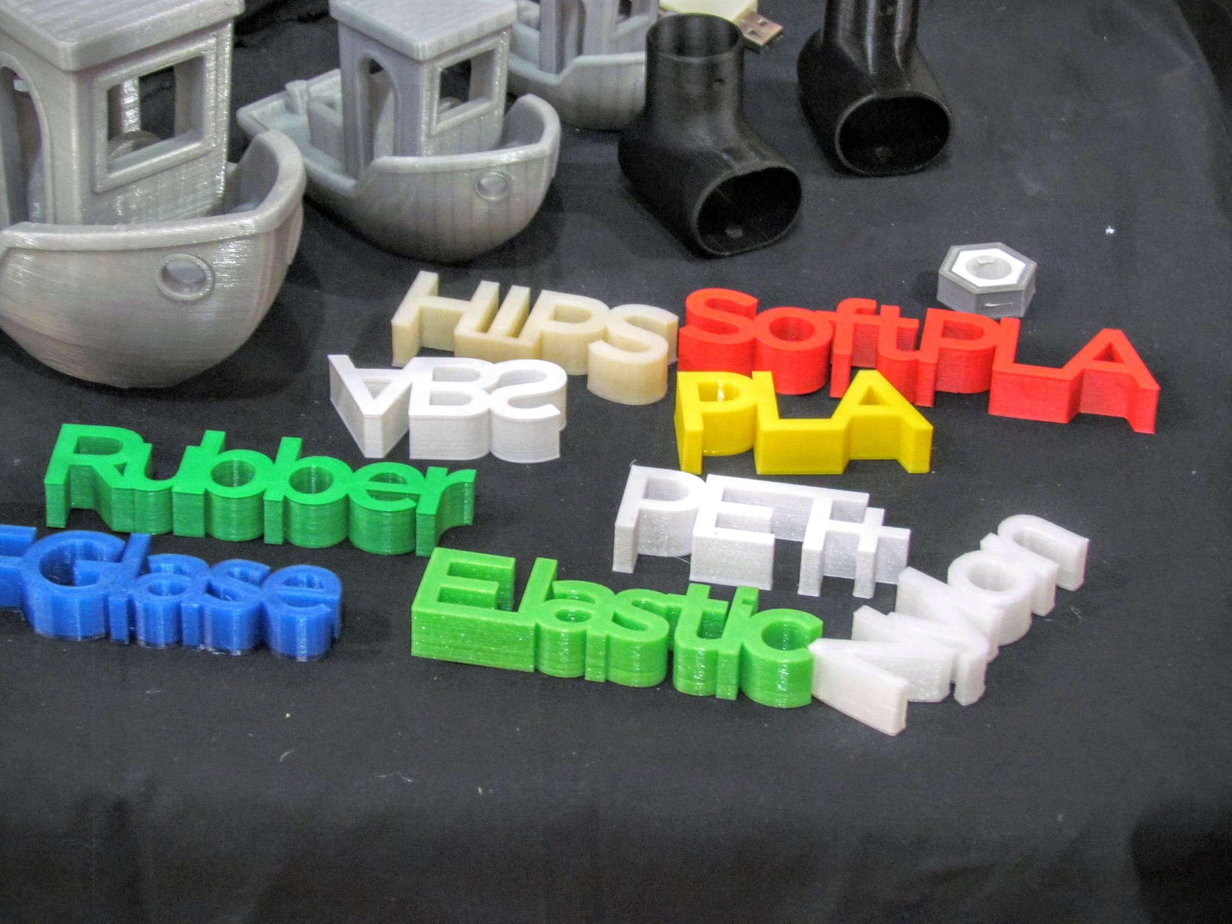 A selection of 3D prints made from many different types of plastic