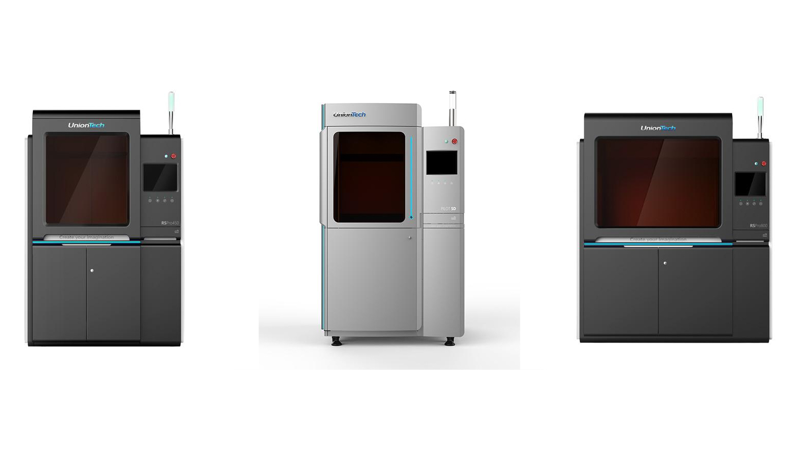Some of UnionTech's line of industrial 3D printers