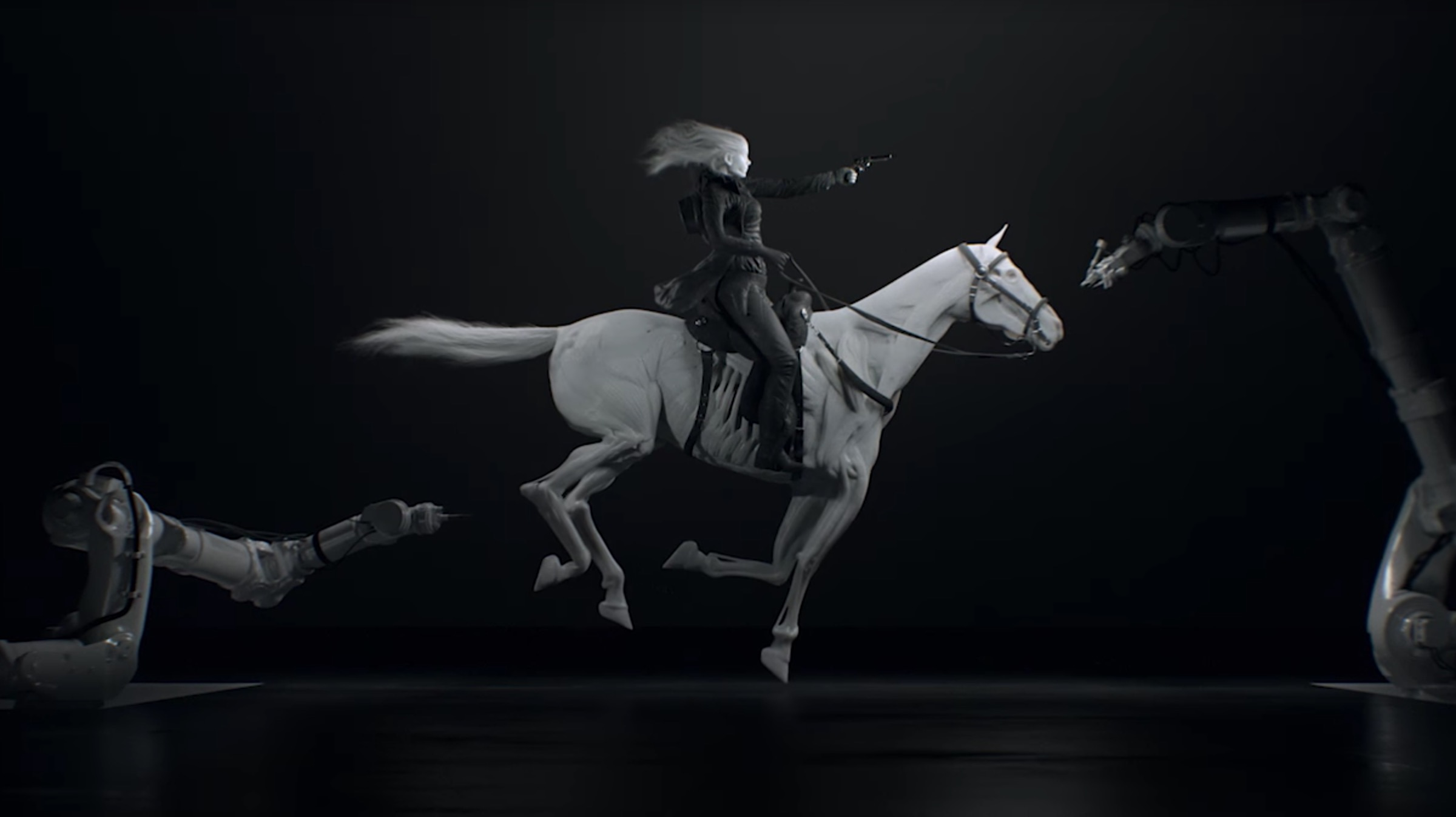 Robotic arms produce a 3D printed horse robot on HBO's Westworld series