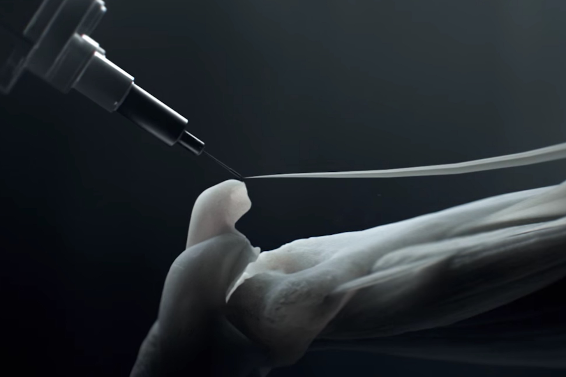 Attaching a 3D printed muscle to a bone segment on HBO's Westworld