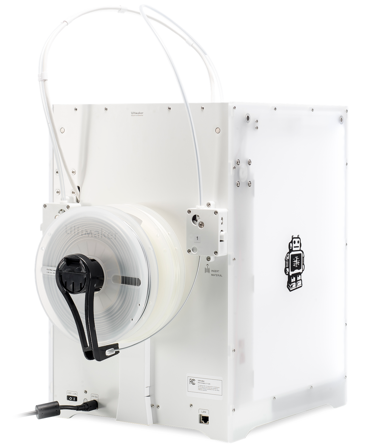 Rear view of the new Ultimaker 3 desktop 3D printer. Note the two filament spools on a single axle