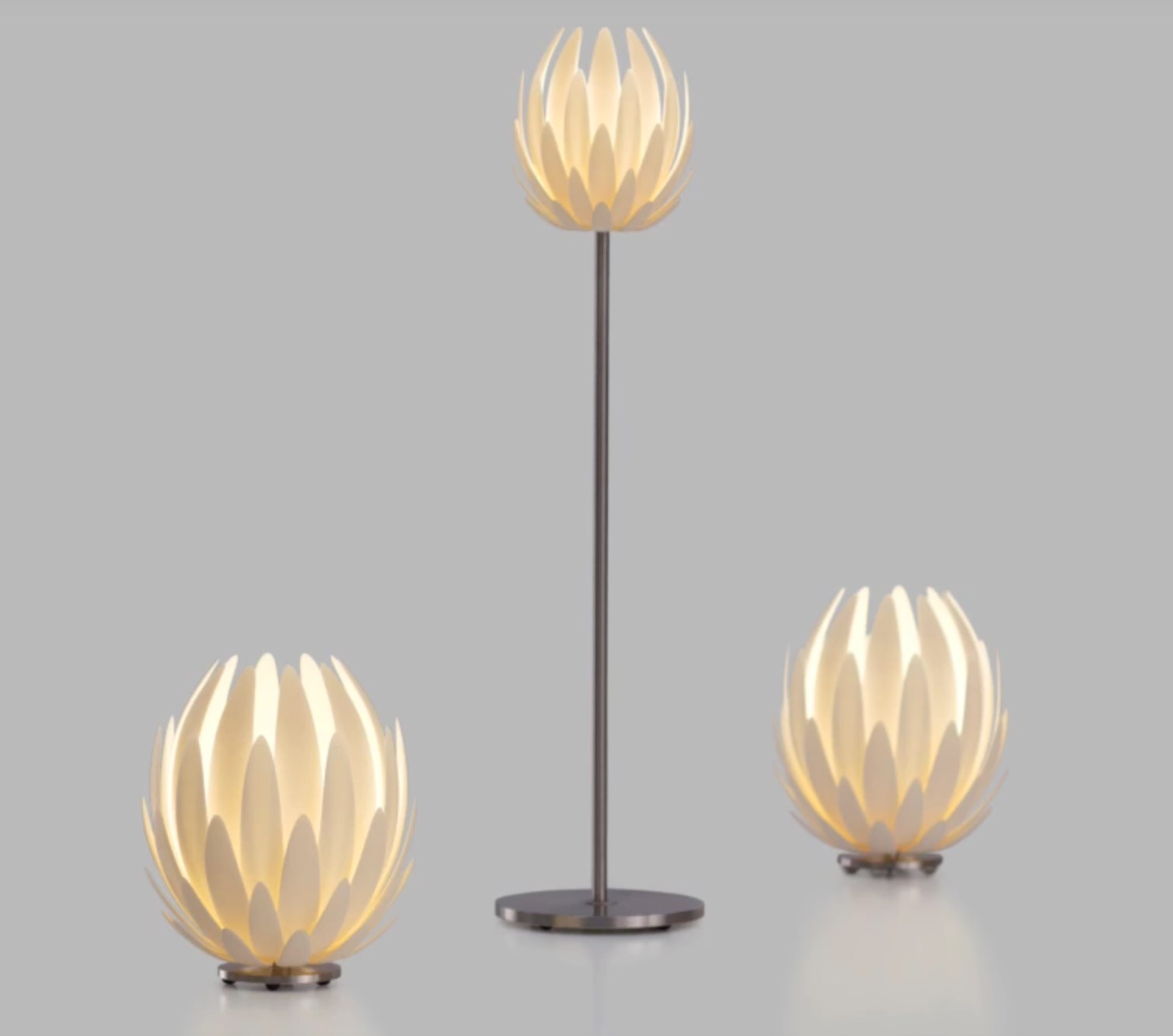 The 3D printed Lily Lamp mounted and lit