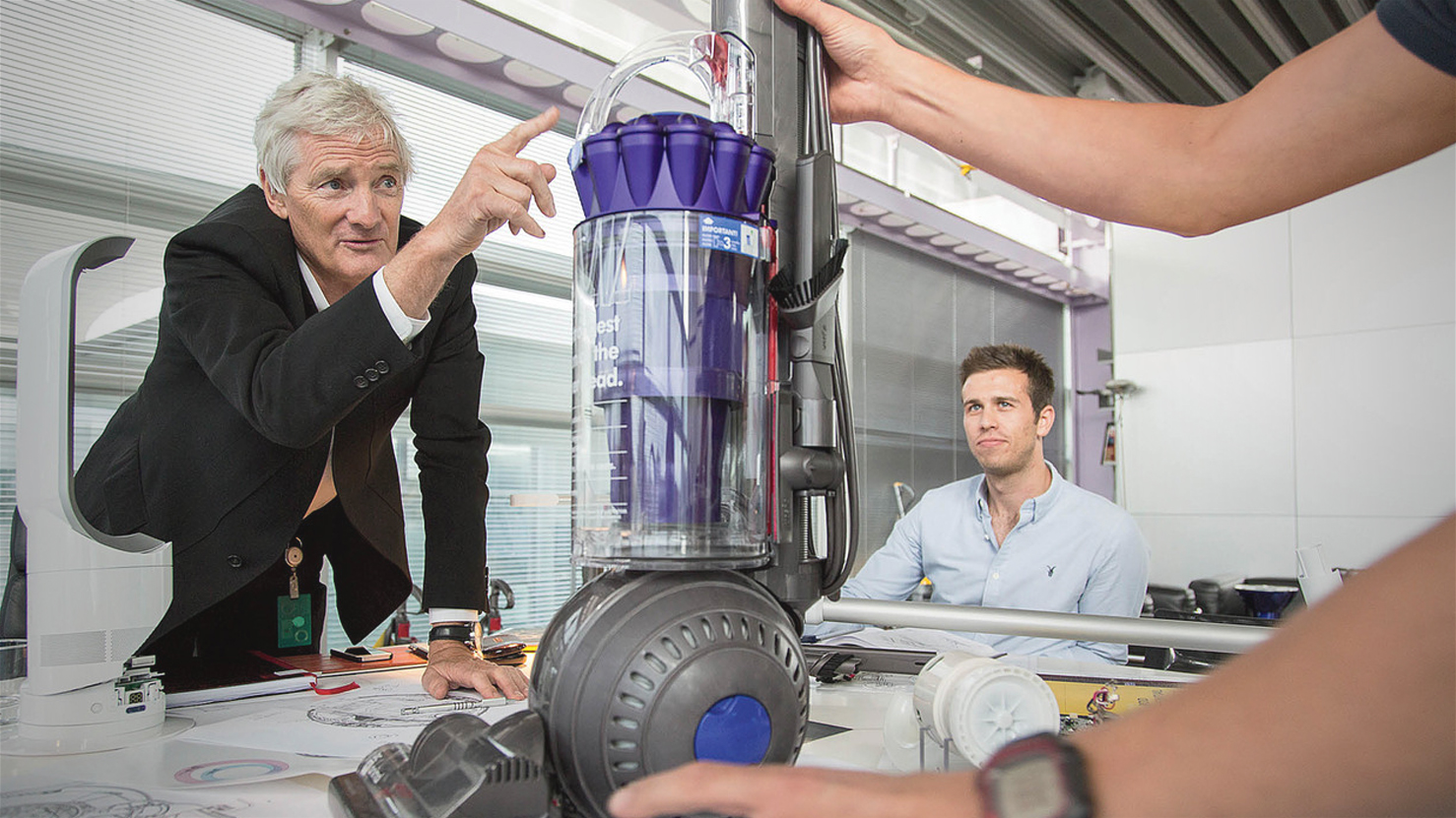 James Dyson and a vacuum