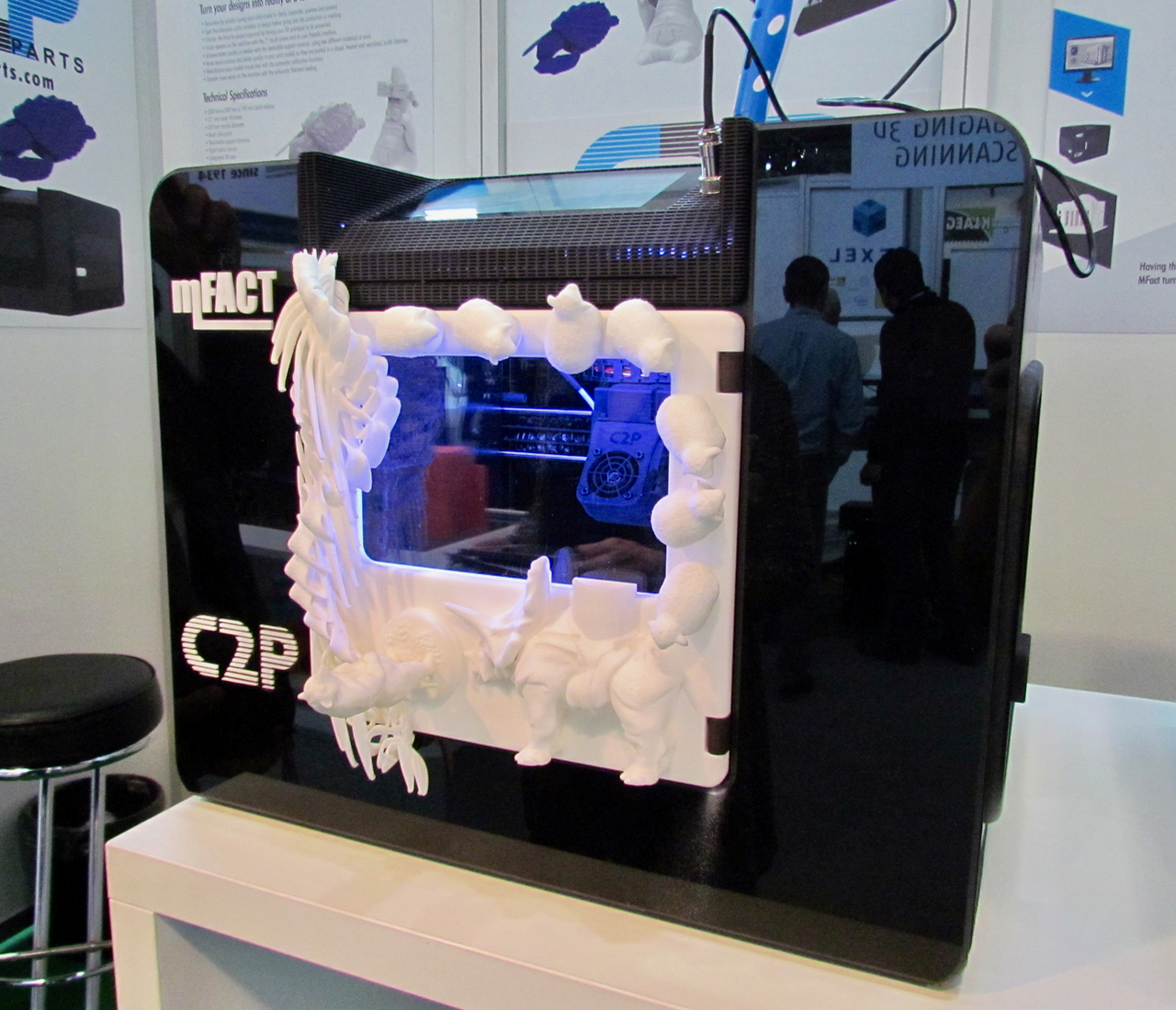 A custom 3D printed cover on the MFact desktop 3D printer from CAD2Parts