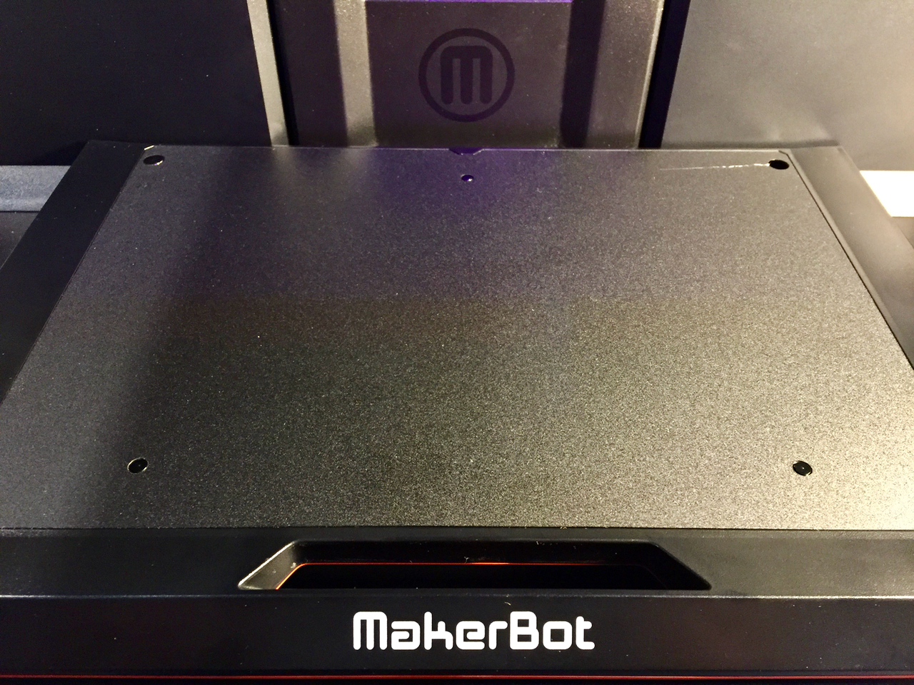 The virgin surface of the new MakerBot Replicator+ print plate