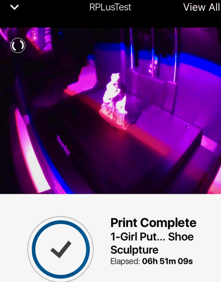 The internal lighting on the MakerBot Replicator+