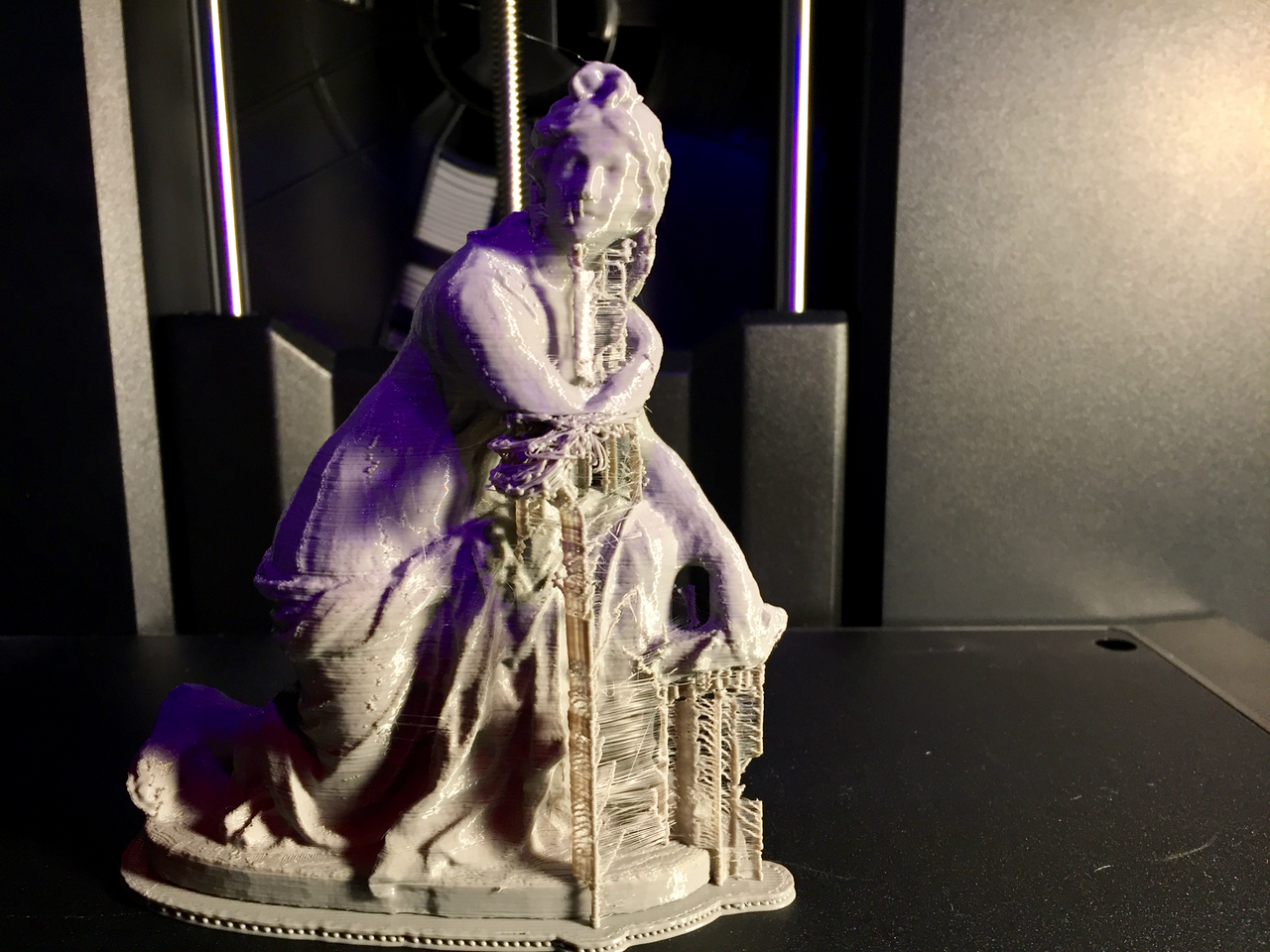 Tall supports are sometimes challenging on the MakerBot Replicator+