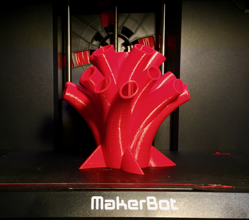 A successful long-duration raftless 3D print made on the MakerBot Replicator+