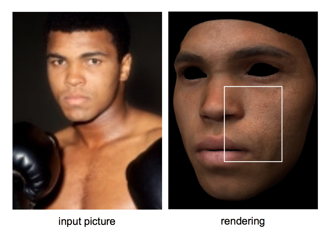 A 3D facial model generated from a single input image