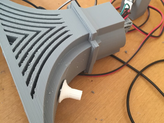 Part of the base of the 3D printed LED Bridge, where you can see the electronics stored