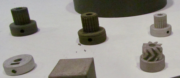 Metal objects printed with EVO-tech's experimental metal filament process