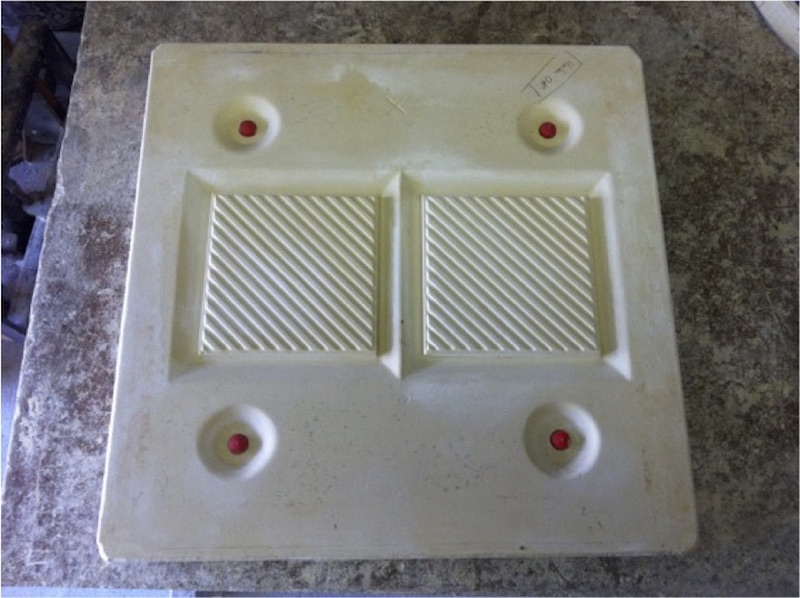 The final mold used by an earthenware factory to reproduce the original tile