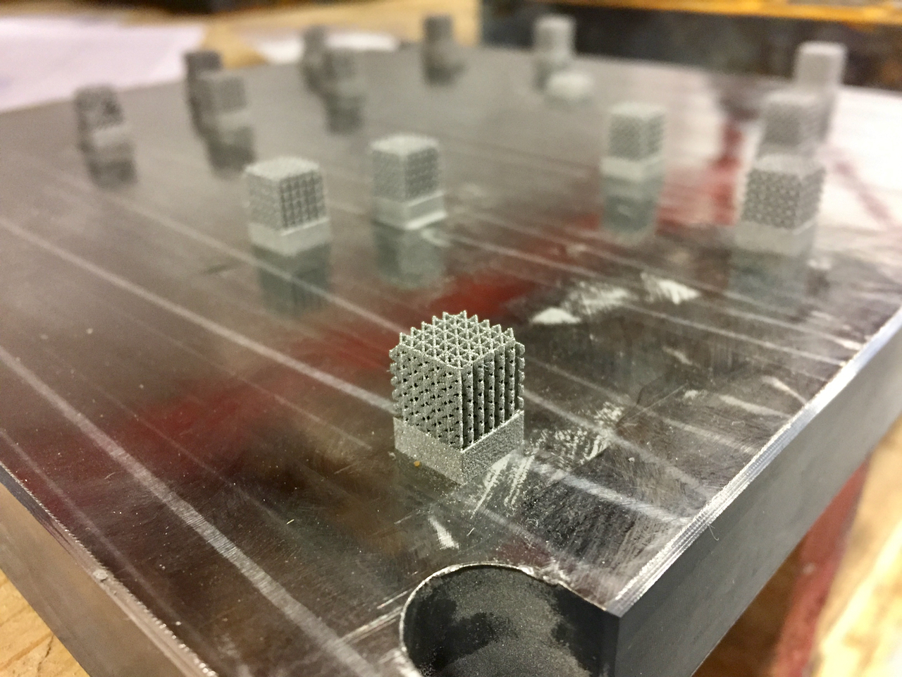 3D print test cubes made by Precision ADM to experiment with different print profiles
