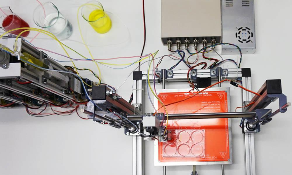 A bioprinter producing human skin tissue