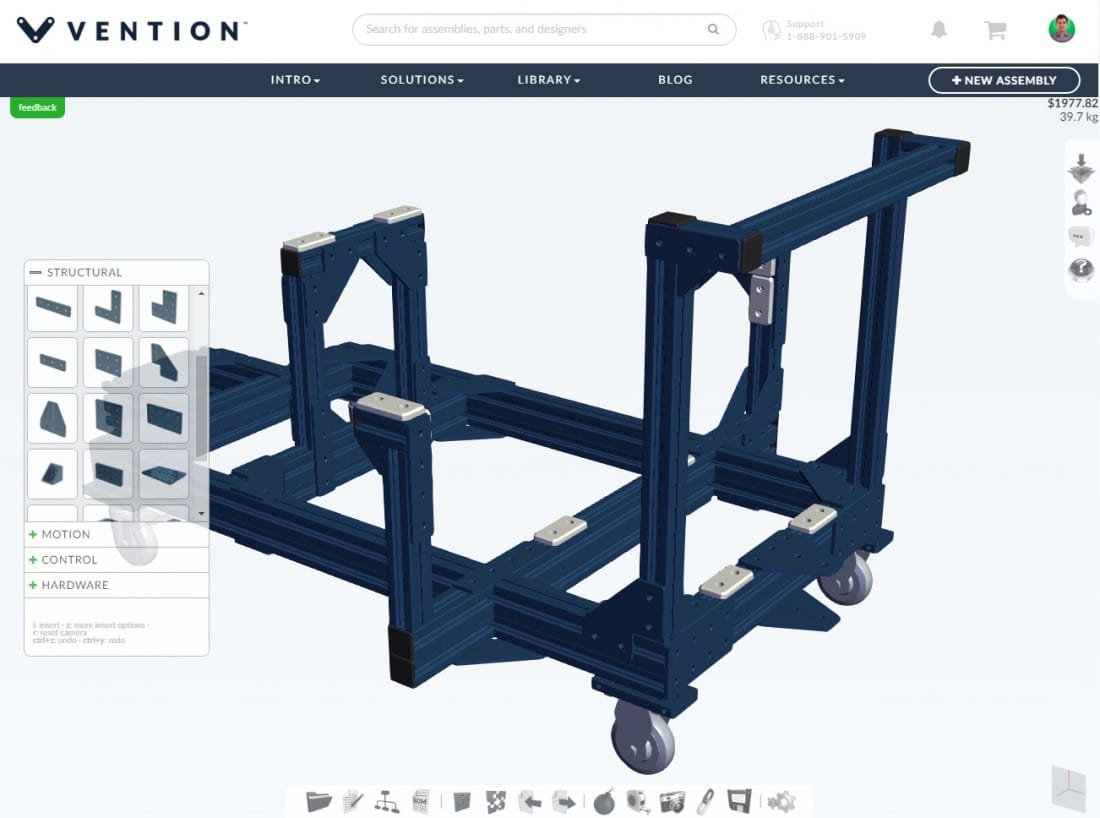The Vention 3D Machine Builder interface with drag-and-drop library of parts and components.