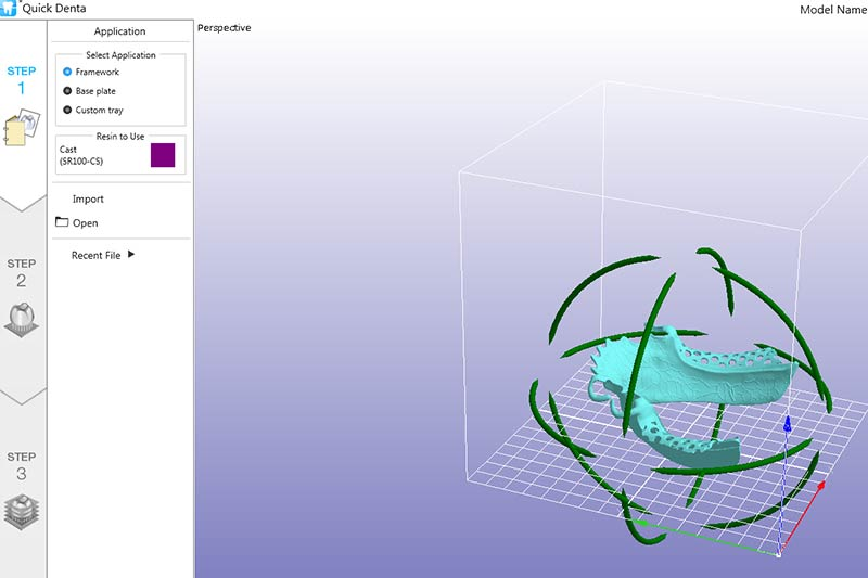 Automatic positioning feature in Roland DGSHAPE's dental 3D printing software