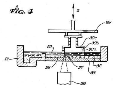 """Fig. 4"" from Chuck Hull's original SLA patent inspired the design of 3D Systems' new Figure 4 3D printing system. (Image courtesy of 3D Systems/USPTO.)"