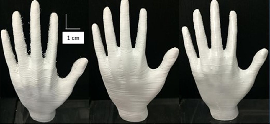 The 3D-CMF smoothing technique (right) compared with manual sanding (center)
