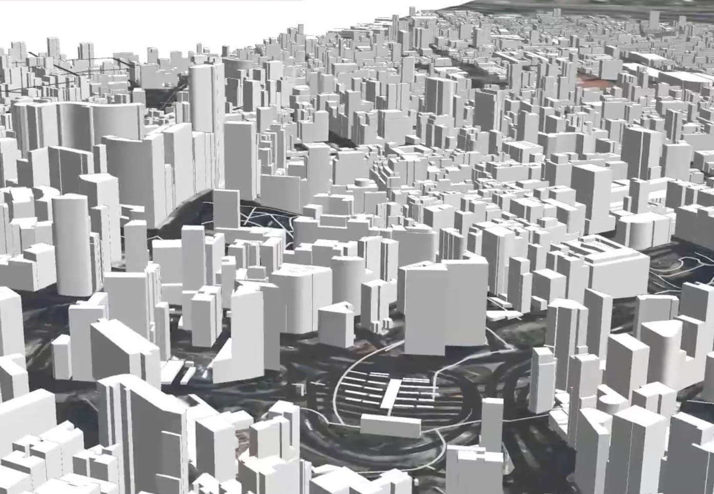 A 3D model of a city instantly created with PlaceMaker