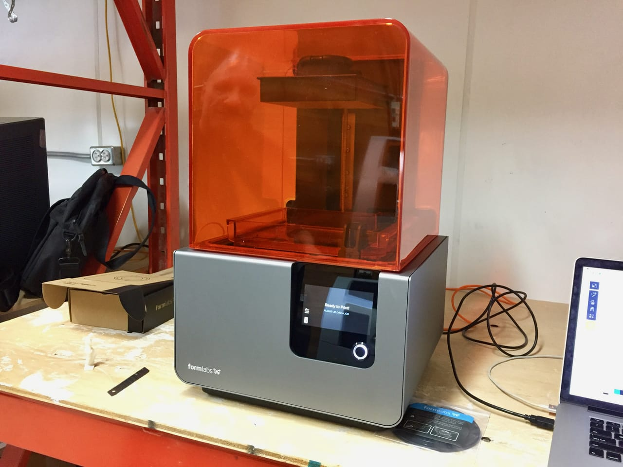 """The Formlabs Form 2 quickly shows """"Ready to Print"""" after powering up"""