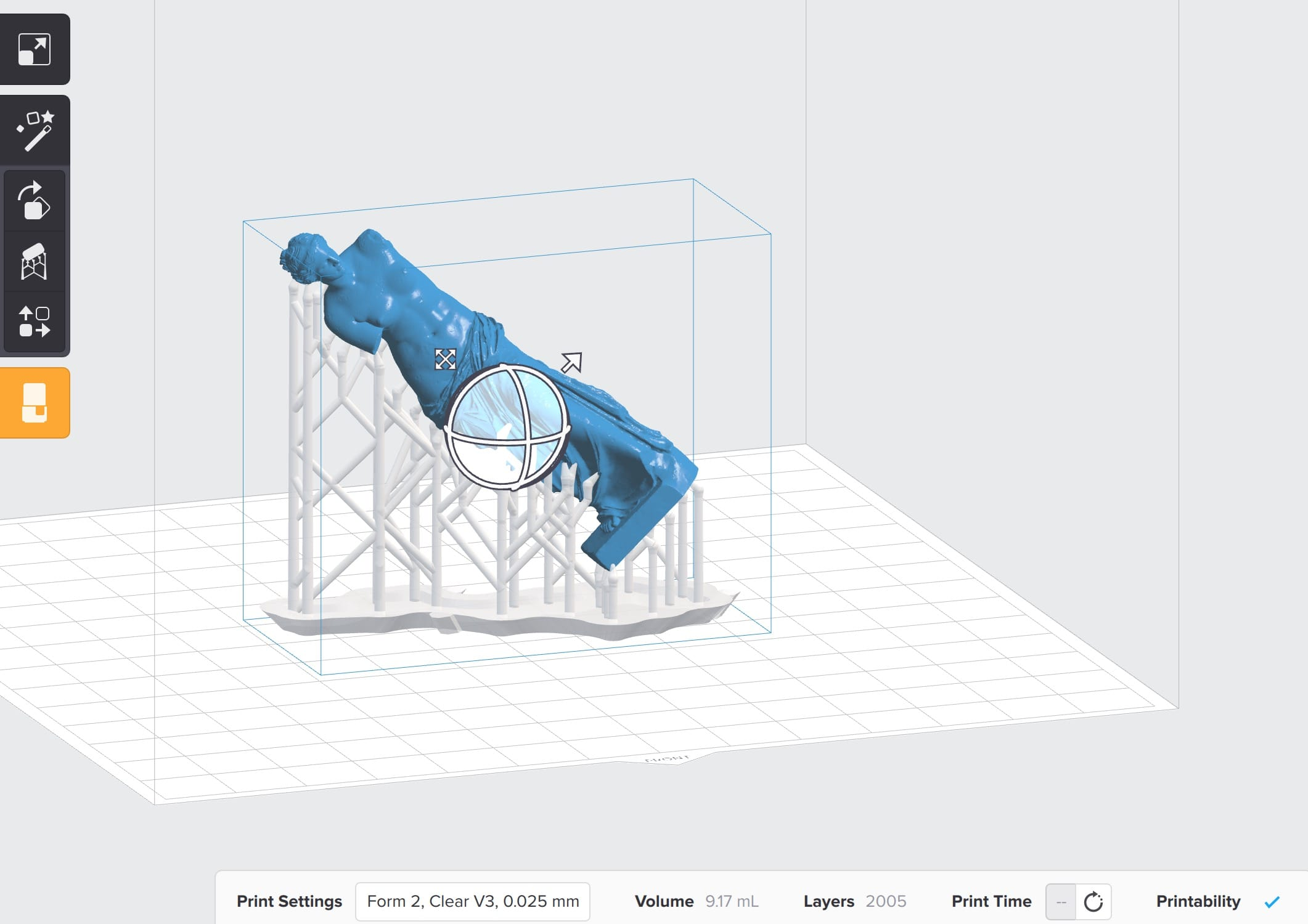 A view of PreForm, the software that drives the Form 2 desktop 3D printer