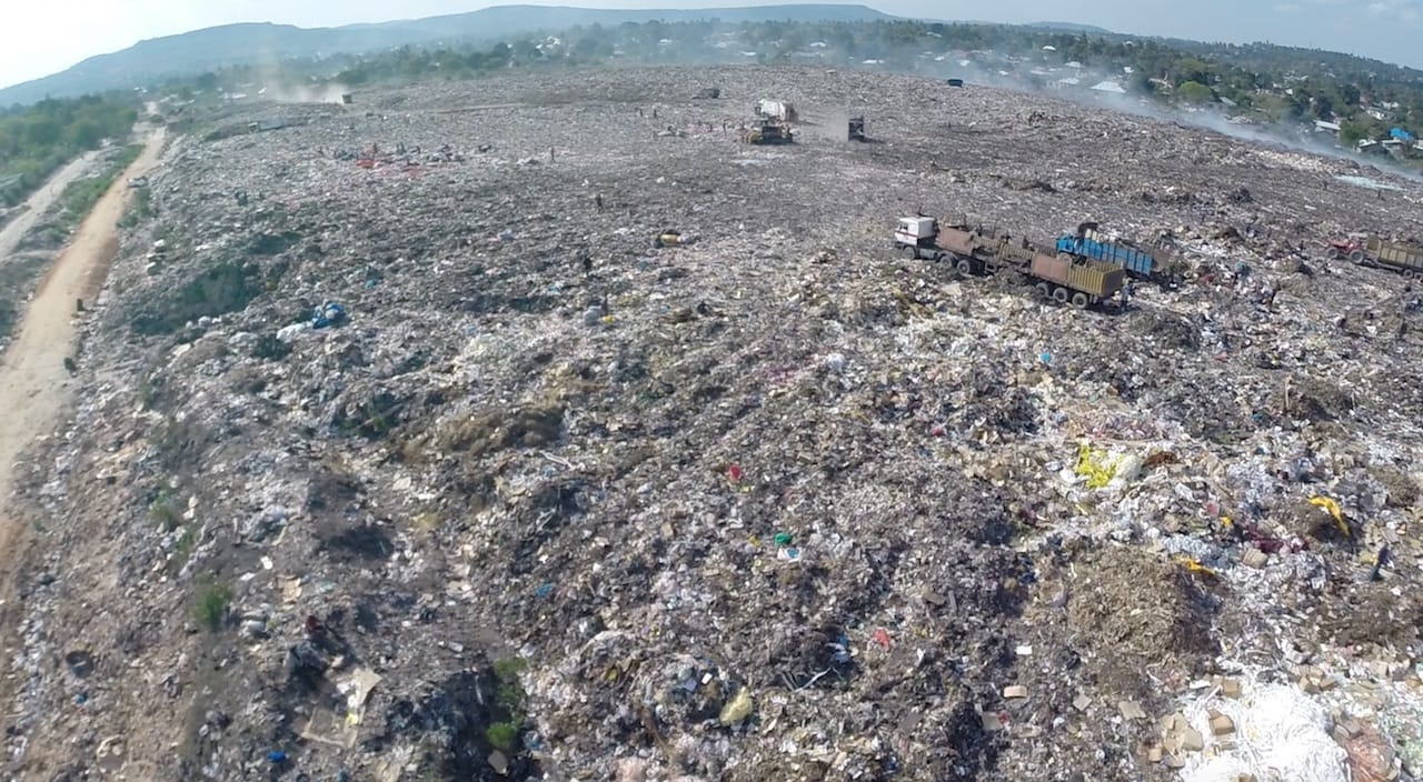 A waste site at one of Reflow's 3D printer filament plastic recycling locations