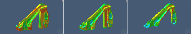 From left to right, Simufact Additive simulating the residual stress of a part after manufacturing, after cutting off the base plate and after removing the support structures. (Image courtesy of MSC.)