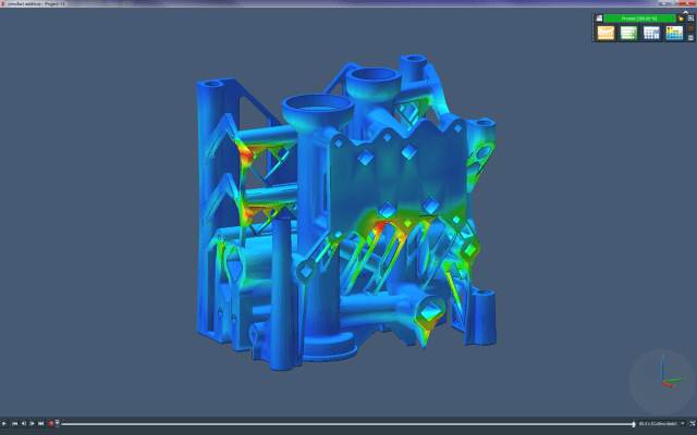 Part distortion simulation of a manifold to be 3D printed on a Renishaw system. (Image courtesy of MSC.)